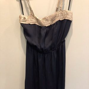 100% SILK dress navy with silver lace detail